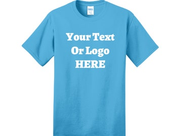 Your Text Or Logo Here Short Sleeve Custom T-Shirt High Quality Heat Pressed Vinyl 100% Cotton Solid Colors