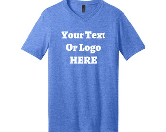 Your Text Or Logo Here V-Neck Short Sleeve T-Shirt High Quality Heat Pressed Vinyl Color Options 100% Cotton Solid Colors