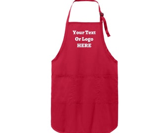 Your Text Or Logo Here Full-Length Apron Stain Release Wrinkle Fighting Various Colors Adjustable Neck Strap Three Pockets Long Straps
