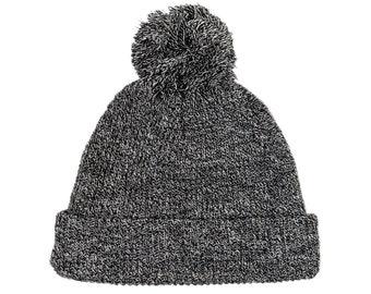 Blank Heather Black and White Soft Acrylic Knit Pom Beanie