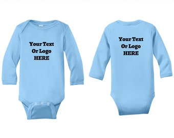 Create Your Own Text or Logo Infant Long Sleeve Baby Soft Bodysuit Custom Vinyl