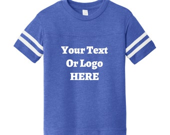 Custom Your Text Or Logo Here Toddler Replica Youth Football Jersey Soft T-Shirt Vinyl Name & Numbers