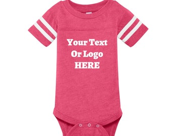 Your Text Or Logo Create A Custom Infant Replica Football Jersey Striped Bodysuit High Quality Vinyl Color Options