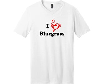 I Love Bluegrass 100% Cotton V-Neck Short Sleeve T-Shirt High Quality Heat Pressed Vinyl