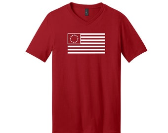 13 Colonies Flag Heat Pressed V-Neck Unisex Various Sizes Short Sleeve T-Shirt Vinyl Multiple Colors Removable Tag