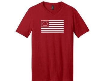 13 Colonies Flag Heat Pressed 100% Cotton V-Neck Unisex Various Sizes Short Sleeve T-Shirt Vinyl Multiple Colors Removable Tag