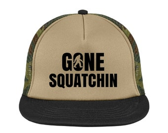 Gone Squatchin Camouflage Foam-Front Trucker Hat High Quality Vinyl Various Colors Snapback Mesh-Back