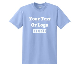 Custom Text Or Design 50/50 Cotton/Polyester T-Shirt Heat Pressed Vinyl Various Colors High Quality Tagless