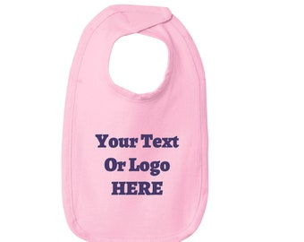 Your Text Or Logo Here Infant Bib Soft 100% Cotton Removable Tag Velcro® Closure Various High Quality Vinyl Options