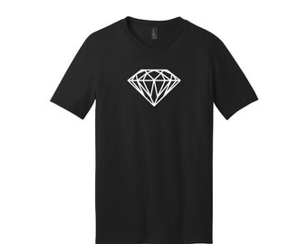 Diamond Outline High Quality Short Sleeve V-Neck Heat Pressed Vinyl T-Shirt 100% Cotton Solid Colors