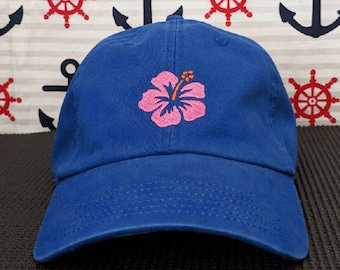 Hawaiian Flower Embroidered Royal Blue Dad Hat/Cap