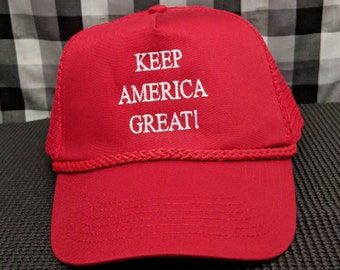 Keep America Great Embroidered Red Mesh-Back Hat/Cap