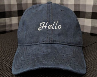 Hello Embroidered Coated Navy Blue Dad Hat/Cap