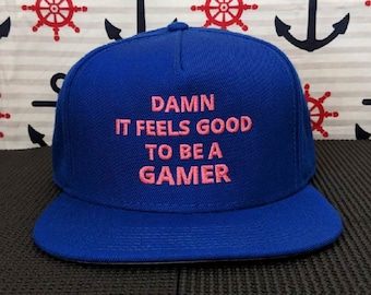 It Feels Good To Be A Gamer Embroidered Royal Blue 5-Panel Hat/Cap