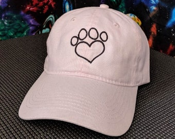 Doggy Heart Paw Print High Quality Embroidered Soft Pink Hat/Cap