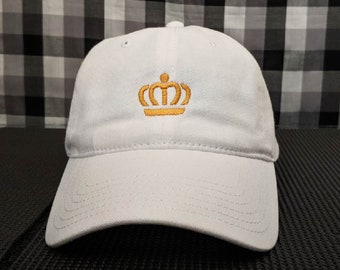 Royal Crown Embroidered White Hat/Cap
