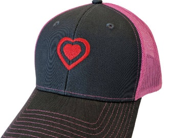 Double Red Heart Embroidered Mesh-Back High Quality Hat/Cap