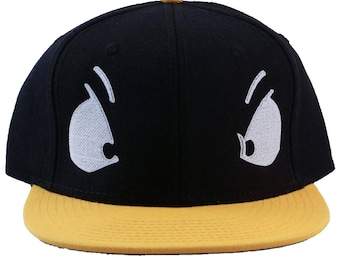 Duck Eyes Embroidered Black Yellow Bill Costume Hat/Cap
