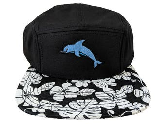 Cute Dolphin Embroidered Hawaiian Floral Pattern Camper Hat/Cap