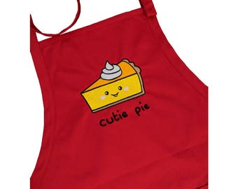 Cutie Pie Smiley Face Embroidered High Quality Full Length Red Apron With Adjustable Neck Strap