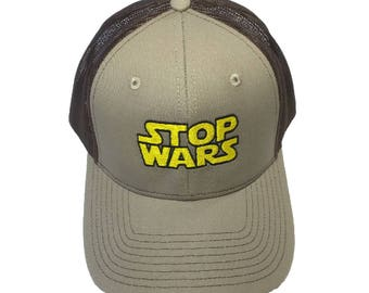 STOP WARS Embroidered Mesh-Back High Quality Hat/Cap