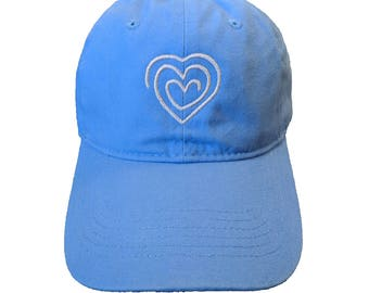 Heart Drawing Embroidered Soft Carolina Blue Hat/Cap
