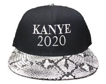 KANYE 2020 Embroidered Snakeskin Flat Bill Hat/Cap