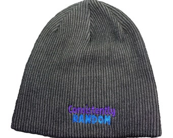 Consistently Random High-Quality Rib-Knit Slouch Embroidered Beanie