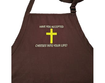 Have You Accepted CHEESES Into Your Life? Cheese Cross Embroidered Apron