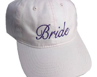 Bride Embroidered Soft Pink Cotton High Quality Hat/Cap