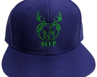 Beer Bear Deer Embroidered 6-Panel Hat/Cap