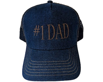 12441db0bf7 Number 1  1 DAD Embroidered Denim Mesh-Back Hat Cap With Gold Stitching