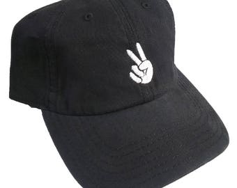 Peace Fingers Embroidered Cotton Canvas Dad Hat/Cap