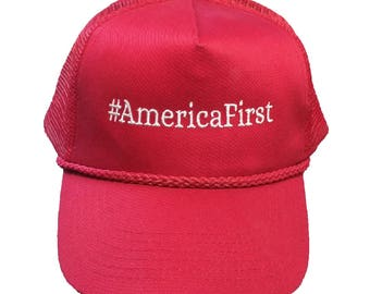 America First #AmericaFirst Embroidered Classic Mesh-Back Hat/Cap