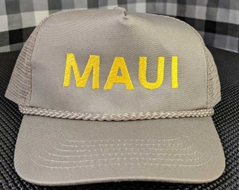 MAUI Embroidered Khaki Mesh-back High Quality Hat/Cap