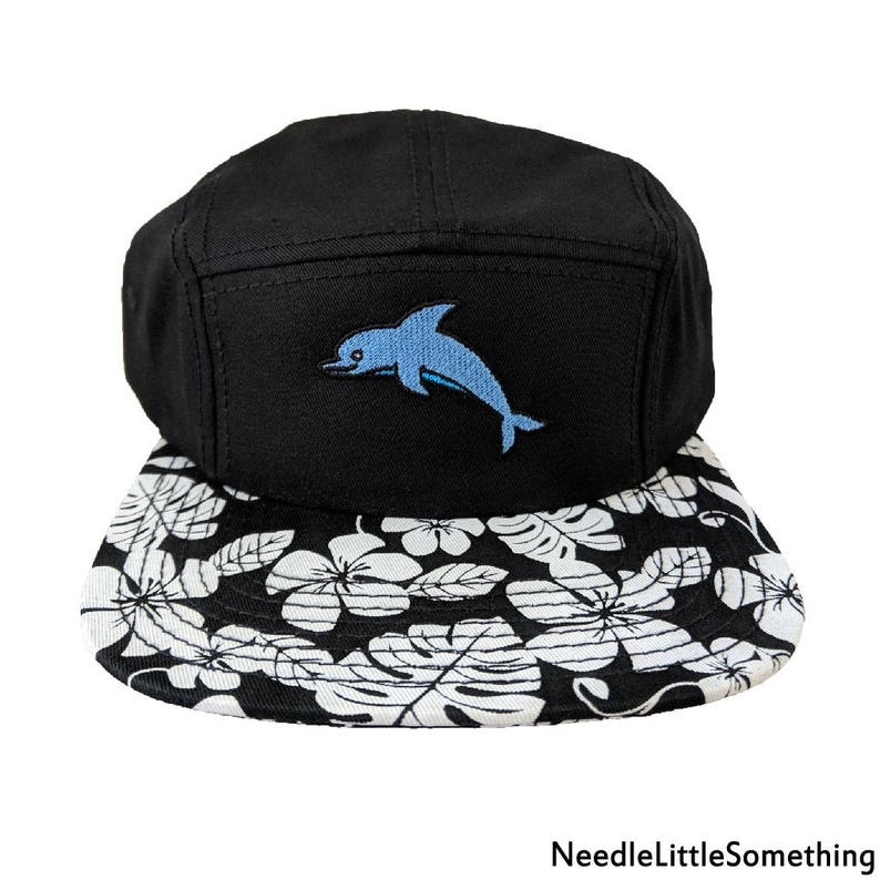 Cute Dolphin Embroidered Hawaiian Floral Pattern Camper HatCap