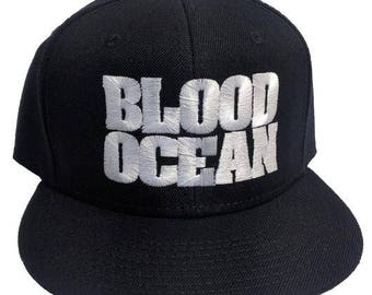 BLOOD OCEAN Black 6-Panel Flat Bill Embroidered Hat/Cap