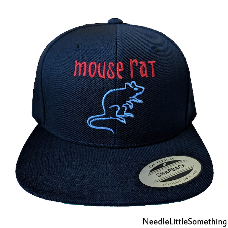 5f3c11f661d4a Mouse Rat Embroidered Snapback Hat Cap