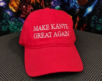 Make Kanye Great Again Embroidered Red 100% Cotton Dad Hat
