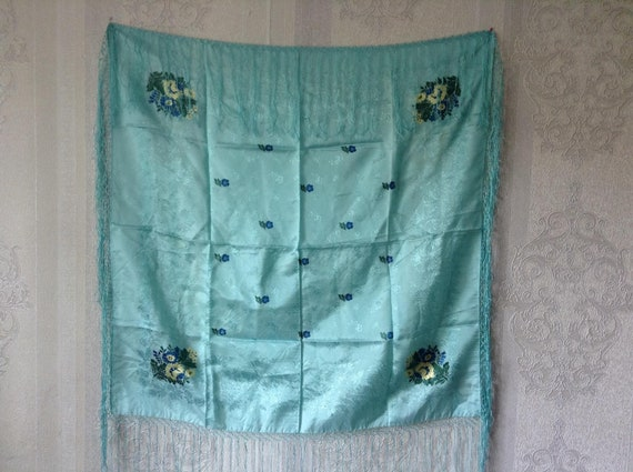Vintage silk shawl Vintage  silk scarf  scarf  sha
