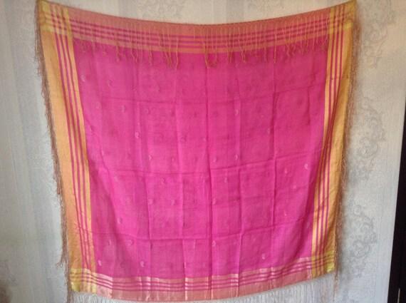 vintage large silky transparent shawl vintage silk