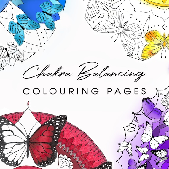 Chakra Balancing Colouring Pages, All Seven Chakras Healing Art, Butterfly Mandala Adult Colouring, Colour Therapy, Printable Art Therapy