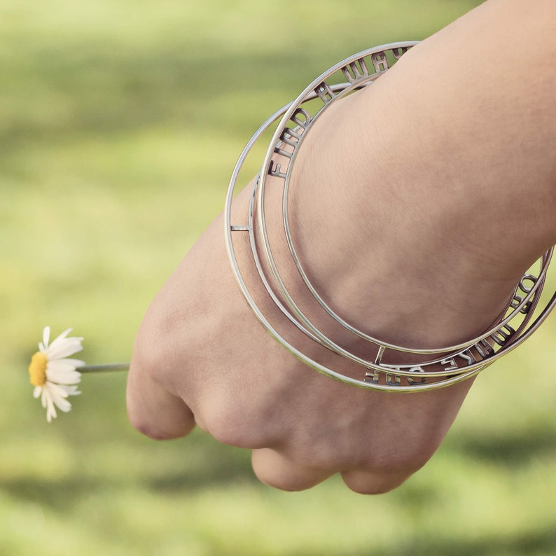 Custom Made Mantra Bracelet Dainty Bracelet  Personalized image 0
