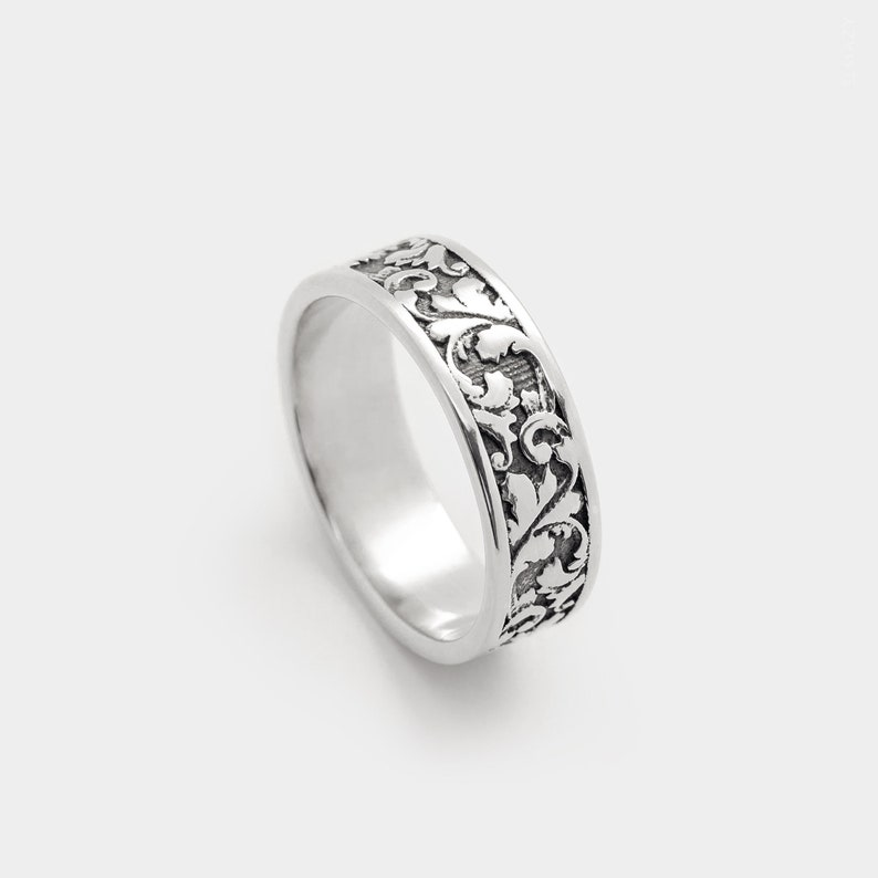 Frieze Floral Patterned Band Ring Ornamental Sterling Silver image 0
