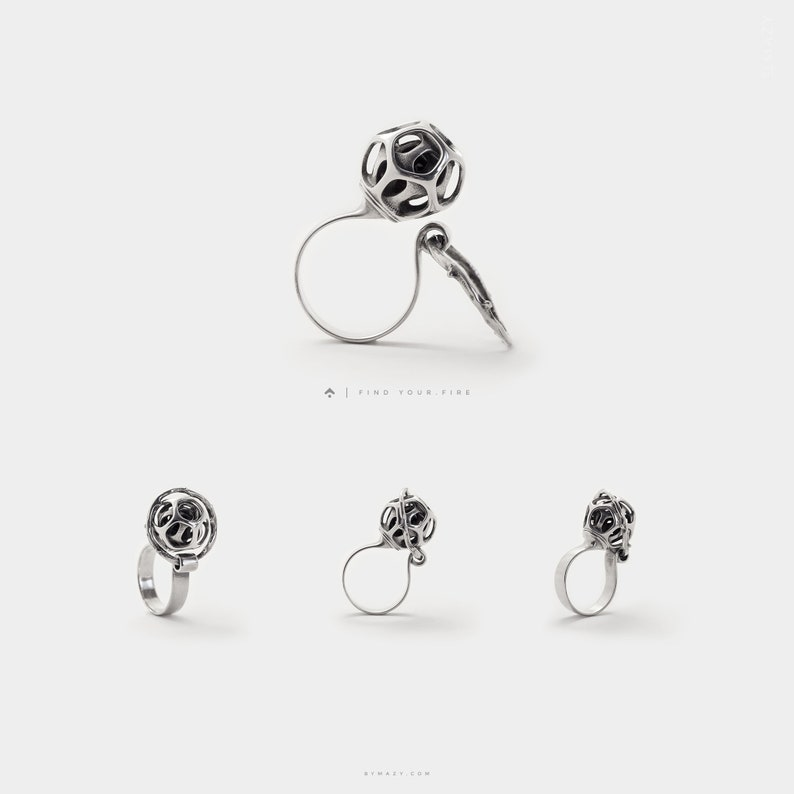 Unique Rings 3D Printed Statement Ring  Open Ring  Chunky image 0