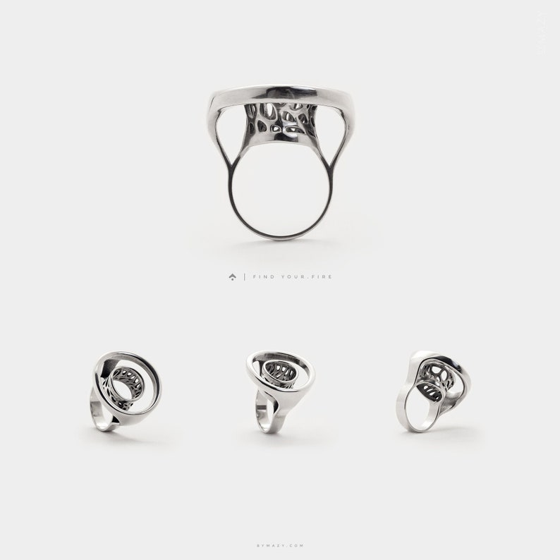 Infinity Open Circle Ring Minimalist Statement Rings Silver image 0