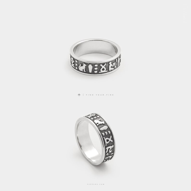 Egyptian Hieroglyphics - Ancient Egypt Ring, Egyptian Jewelry, Hieroglyph  Wedding Band Ring, 3d Printed Silver Unique Jewelry, Egypt Symbols