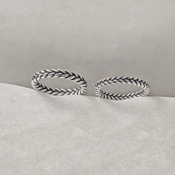 Dot Pattern Sterling Stacking Band Braided Women/'s Boho Stacking Jewelry Twisted Silver Ring Thin and simple sterling silver ring