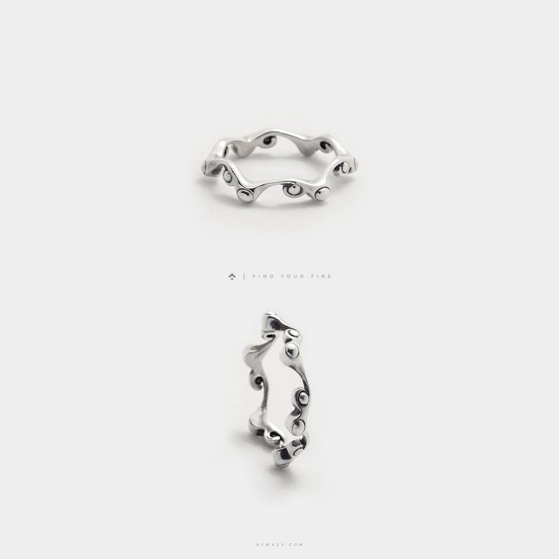 Organic Wavy Ring  Thin Silver Ring Dainty Ring  Silver image 0