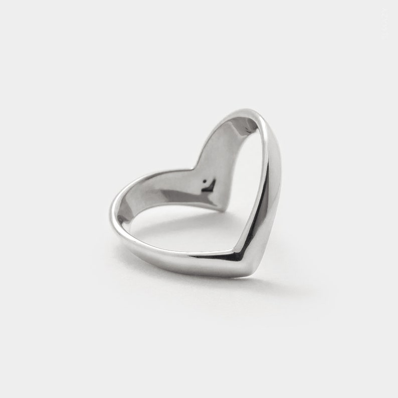 Wishbone Ring Sterling Silver Chevron Ring Wish Band V image 0